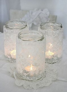 how to make a lace candle holder, christmas decorations, crafts, mason jars, seasonal holiday decor holders diy dollar stores mason jars How to make a lace candle holder Lace Candles, Candle Lanterns, Candle Jars, Hurricane Candle, Rustic Crafts, Vintage Crafts, Mason Jar Crafts, Mason Jars, Citronella Candles