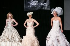 Non-white wedding gowns continue to be a popular trend, especially pastels. Brides are also opting to ditch the traditional veil for something more fun, like a bejeweled headband or sparking clip. - 2013 great bridal expo - roundup of expo. notes on trends & ideas/photos of flowers, cakes, favours, makeup, honeymoons, fashion.