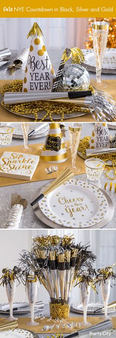 Let the countdown begin! Create modern elegance at your New Year's party with our black, silver and gold tableware, including napkins, premium plates, gold trimmed champagne flutes and decorative centerpieces! Don't forget to accessorize with wearables for you and your guests!