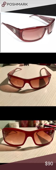 c1be3b6a6c7 Giorgio Armani sunglasses Giorgio Armani wrap sunglasses. Rare hard-to-find  style. Red clear stripe pearlescent. GA monogram logo on both arms. No case.