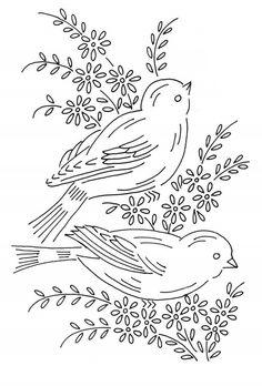 Рисунки для вышивки гладью Цветы и птицы