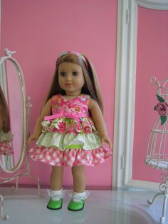 Sweet ruffled dress with coordinating panties made to fit 18 inch American Girl doll/ floral