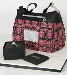 pink tartan coach purse cake toronto