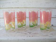 Vintage 1950's Floral Tumbler Glasses  Set by sparvintheieletree, $24.00