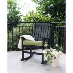 Porch Wood Cushioned Rocking Chair Pillow Deck Patio Seat Outdoor Dark Brown New #PorchWoodCushionedRockingChair