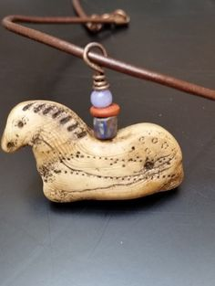 Handmade Ancient Horse Artifact Necklace on 16 Leather