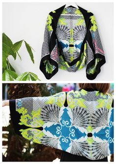 truebluemeandyou:  DIY Easy Scarf Kimono Inspired Jacket Tutorial from Plan B Anna Evers here. You can use one or two scarves and a sewing machine is not required.