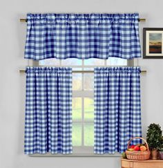Blue White Gingham Checkered Plaid Kitchen Curtain Set Duck River
