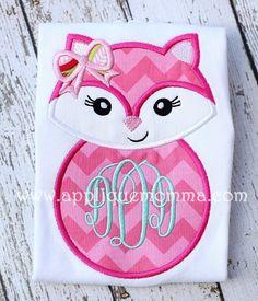 Girly Fox Applique Design