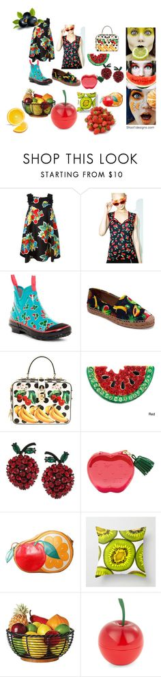 """Fruity Goods"" by fivefoot1designs ❤ liked on Polyvore featuring Victoria, Victoria Beckham, Demi Loon, Bogs, Dolce&Gabbana, Betsey Johnson, Moschino and Tony Moly"