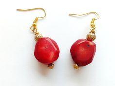 bamboo coral earrings red earrings handmade earrings by tizianat