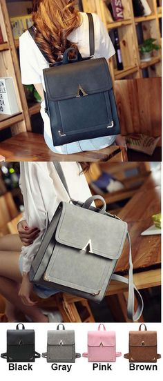Retro V Shaped Leisure College Backpack Frosted PU Flap Square School  Backpack for big sale ! 2c4f7e2b48
