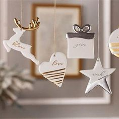 Adorn your Christmas Tree or add to your Holiday decor throughout your house with these tradional, simple and beautiful ceramic ornaments. These would also make beautiful gifts, stocking stuffers or even beautiful decor to your babies nursery or kids room. These ornaments come in silver and gold sentiment with handscripted scroll/cursive writing. These adorable and elegant ornaments are an excellent gift and will compliment a wide variety of holiday decor. These ornaments are available ...