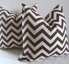 Chevron Pillow - 20 inch - Chocolate Brown and Natural Cotton