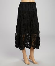 Another great find on #zulily! Black Crocheted Midi Skirt by Anuna #zulilyfinds