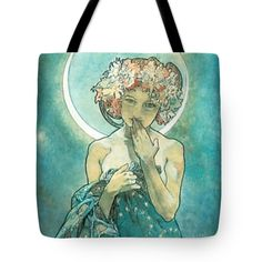Moonlight Tote Bag by Alphonse Mucha. The tote bag is machine washable, available in three different sizes, and includes a black strap for easy carrying on your shoulder. All totes are available for worldwide shipping and include a money-back guarantee. Art Nouveau Tiles, Alphonse Mucha, Office Gifts, Bag Sale, Moonlight, White Ceramics, Vibrant, Reusable Tote Bags, Princess Zelda