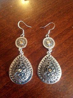 Antiqued metal and Amber Glass Earrings by TreasuresByMAR on Etsy, $10.00