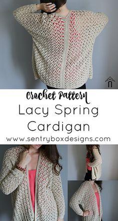 Crochet Edgings Design Ravelry: Lacy Spring Cardigan pattern by Sentry Box Designs Crochet Coat, Crochet Cardigan, Crochet Clothes, Crochet Sweaters, Crochet Scarfs, Cardigan Sweaters, Crochet Designs, Crochet Patterns, Knitting Patterns