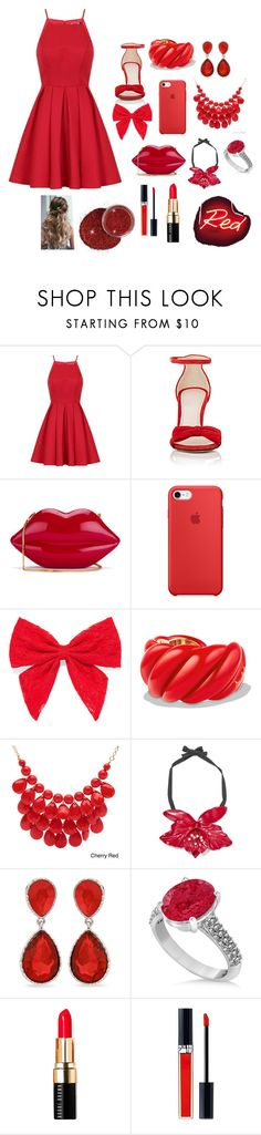 """Red"" by morganleahc ❤ liked on Polyvore featuring Chi Chi, Barneys New York, Lulu Guinness, Carole, David Yurman, Alexa Starr, Gucci, Erica Lyons, Allurez and Bobbi Brown Cosmetics"