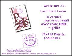 grille point de croix love Paris coeur : Broderie par grillotte-de-betty