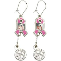 Pittsburgh Steelers Breast Cancer Awareness Pink Ribbon Silvertone Earrings