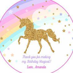 Round Stickers | Zazzle Make Your Own, Make It Yourself, Round Stickers, Unicorn, Birthday, Party, Round Labels, Birthdays, A Unicorn