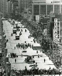 Edmonton's Klondike Days parade attracts a throng on Jasper Avenue in July 1970. #yeg #northlands #summerfair