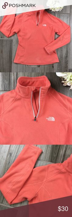 The North Face women's 1/4 Zip fleece size small The North Face women's coral 1/4 Zip fleece pullover size small. Excellent condition The North Face Sweaters