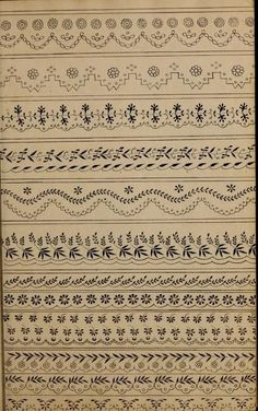 Book of designs by Watson, Mrs Published 1824 Border Embroidery Designs, Floral Embroidery Patterns, Embroidery Suits Design, Vintage Embroidery, Cross Stitch Embroidery, Hand Embroidery, Border Pattern, Border Design, Crazy Quilt Stitches