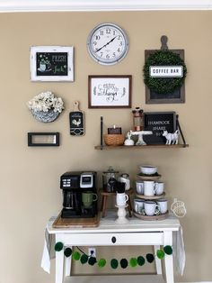Spring Gallery Wall Update - The Teal Acorn Kitchen Gallery Wall, Gallery Walls, Coffee Counter, Coffee Bar Home, Daylight Savings Time, Green Rooms, House Goals, Acorn, Liquor Cabinet