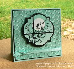 "Stamps - Serene Silhouettes   Cardstock - Pool Party, Basic Black, Whisper White   Other - Fancy Fan embossing folder, Windows Framelit die, 1"" Circle punch, Sponges, SAB ribbon, Dimensionals"