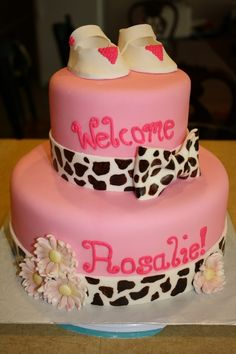 Girlie Baby shower cake, would be cute with light brown zebra with the light pink cake :)