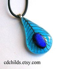 Fused Glass Peacock pendant (no peacocks were harmed in the making of this pendant)