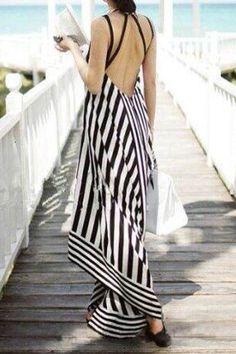 Stripe Spliced Backless Maxi Dress