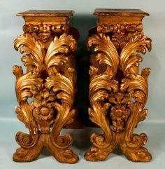 """Makes me crazy that human hands can carve wood like this: PAIR OF 47"""" TALL, 17th CENTURY FRENCH BAROQUE CARVED AND GILDED PEDESTALS"""