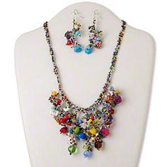 Necklace and earring set, glass / steel / multi-gemstone (natural / coated / dyed / imitation / manmade), multicolored, bib style with chips, 18-19 inches adjustable with button-style clasp, 22-inch drape, 72x19mm earrings with fishhook earwire. Sold per set.