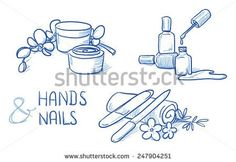 Icon item set manicure, cosmetic, beauty, with cream, nail polish, emery board, nail file. Hand drawn doodle vector illustration.