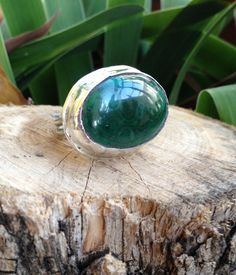 Malachite and sterling silver ring, adjustable band, women's ring, statement ring