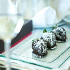 Romantic chocolate-covered strawberries and champagne from the Hotel made for the perfect pre-wedding snack.