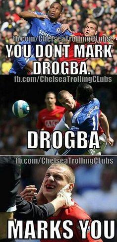 The truth about Drogba. Football Things, Football Is Life, Chelsea Football, Chelsea Fc, Soccer Humor, Stamford Bridge, Fulham, European Football, Husband Love