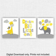 Yellow and Gray Giraffe and Elephant Nursery Dream Big