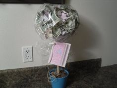 Money Tree- Very cute way to give money as a gift!!! i like it!!