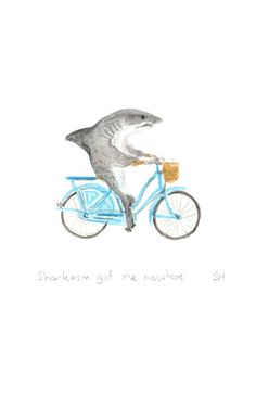 Shark on a bike print gifts for men hipster by ShirleyHarveyArt