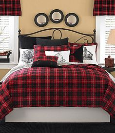 Red and Black Plaid Bedroom - have similar bedding