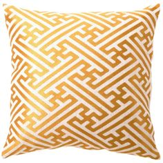 DL Rhein Cross Hatch Citron Embroidered Pillow