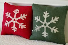Snowflake Burlap Pillow Cover  14x14 Choice by larksongcreations, $24.00
