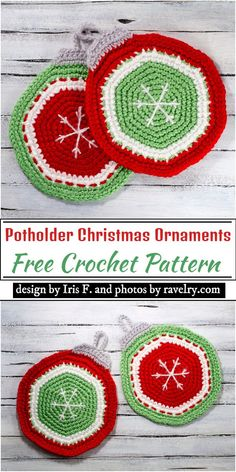 Crochet potholder patterns are specially designed for use in the kitchen. These patterns also have a lot of other utilities, which make them unique. Crochet Apple, Crochet Bee, Ravelry Crochet, Crochet Gifts, Free Crochet, Crochet Things, Crochet Potholder Patterns, Christmas Crochet Patterns, Holiday Crochet