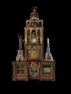 "The Great Historical Clock of America. As the U.S. became a leading industrial power in the 19th century, American clockmakers strove to build monumental clocks greater than the famous cathedral clock of the French city of Strasbourg. This ""Great Historical Clock of America"" is from c. 1890."
