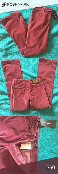 ‼️SALE‼️Dolce and Gabbana pink corduroy pants NWT. New with tags, super soft. These are a European size 38, the waist measures 28inches Dolce & Gabbana Pants
