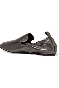 Lanvin - Metallic Leather Loafers - Anthracite - IT37.5